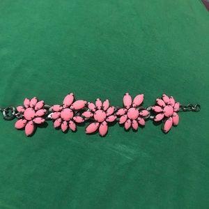 J. Crew Neon Pink Rubber Crystal Studded Bracelet
